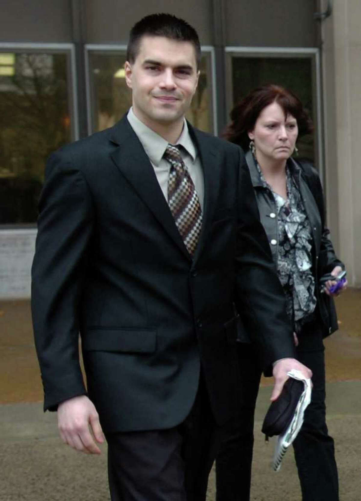 Ken Zrallack leaves the federal courthouse in Bridgeport, Conn. Dec. 1st, 2010. The reputed head of the Connecticut White Wolves, a white supremacist group, Zrallack was found not guilty by a federal jury considering charges that he conspired to sell guns and hand grenades to a Ku Klux Klan offshoot.