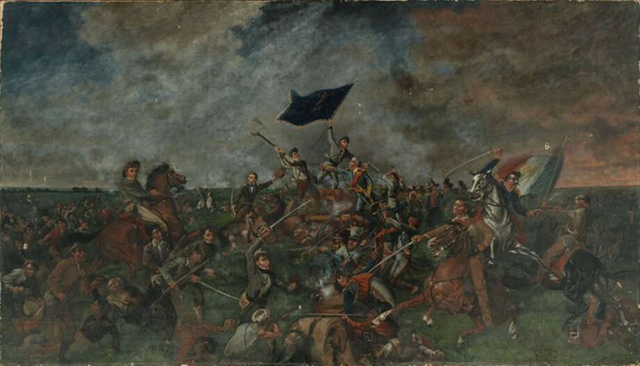 The 1901 oil on canvas, 5-by-7-foot painting of the Battle of San Jacinto by Henry McArdle, was found last year by his great-great-grandson Jon Buell in his grandparents' attic in Weston, W. Virginia.