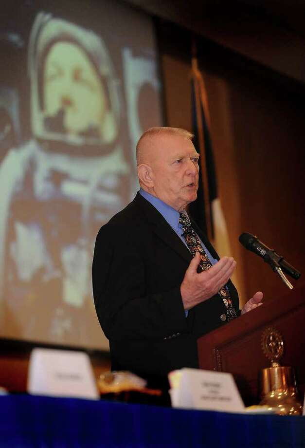 Gene Kranz spoke to Rotarians Wednesday at the MGM Elegante about the birth of NASA and its mission to safely return the Apollo 13 crew to Earth. Kranz was portrayed by Ed Harris in the movie. Guiseppe Barranco/The Enterprise Photo: Guiseppe Barranco / Beaumont