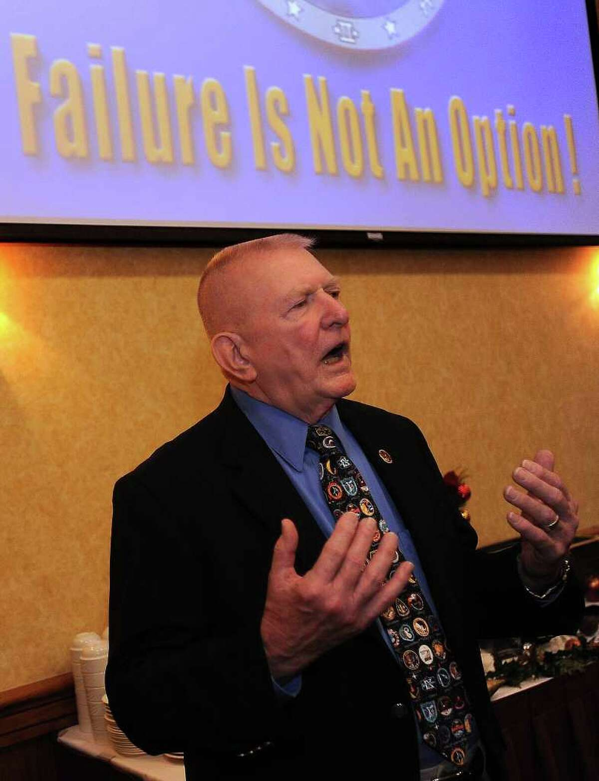 Gene Kranz former mission controller for NASA visited Beaumont Wednesday and spoke during a Beaumont Rotary Club meeting. Kranz is known for directing the Apollo 13 mission and was portrayed by Ed Harris in the Apollo 13 movie staring Tom Hanks. Guiseppe Barranco/The Enterprise