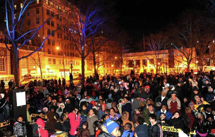 The annual Downtown Holiday Tree Lighting was held at McLevy Green in downtown Bridgeport, Conn. on Thursday November 2, 2010. Mayor Bill Finch and Santa Claus were on hand to count down for the tree lighting. A menorah was also iluminated to recognize the second night of Hanukhah.