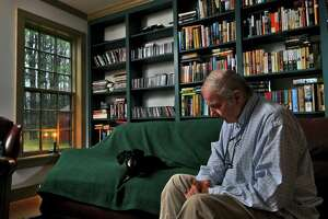 """Retired WNYT Channel 13 anchor Ed Dague talks about his new memoir, """"Six and Eleven,"""" and about the medical condition that forced him to retire, in his Stillwater, NY home on Wednesday  December 1, 2010.  ( Philip Kamrass / Times Union )"""