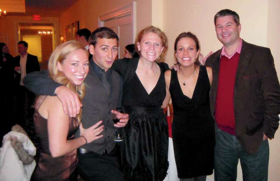 Members of the Greenwich High School class of 2000 recently held their 10-year reunion at Burning Tree Country Club in Greenwich. Among those enjoying the festivities were, from left, Amy Kalna, Matthew Yardis, Abby Ostruzka, Katie McGowan Butler and Shane Butler. Photo: Contributed Photo / Greenwich Citizen