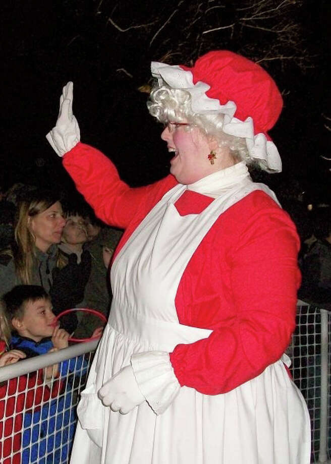 Mrs. Claus, and her spouse, will greet their fans at the Friday night tree-lighting ceremony on Fairfield's Town Hall Green. Music starts at 6:15 p.m., and the big tree is illuminated at 7 p.m. Photo: Contributed Photo / Fairfield Citizen contributed