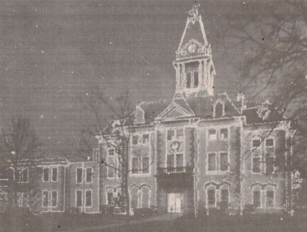 """Eighteen miles of Christmas lights are on Newton County's 94-year-old courthouse. The illumination costs about $8,000 each year."" File photo Nov. 28, 1997"