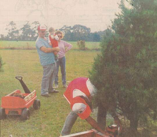 """Larry Reed, his wife, Dean, and grandson Seth watch Chris Boudreaux cut down a Christmas tree they picked out at B's Tree Plantation on Route 6 Thursday."" File photo Dec. 7, 1990"
