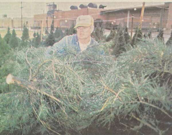 """Thomas Wright loads Christmas trees at his lot at 577 Interstate 10 South."" File photo Dec. 8, 1984"
