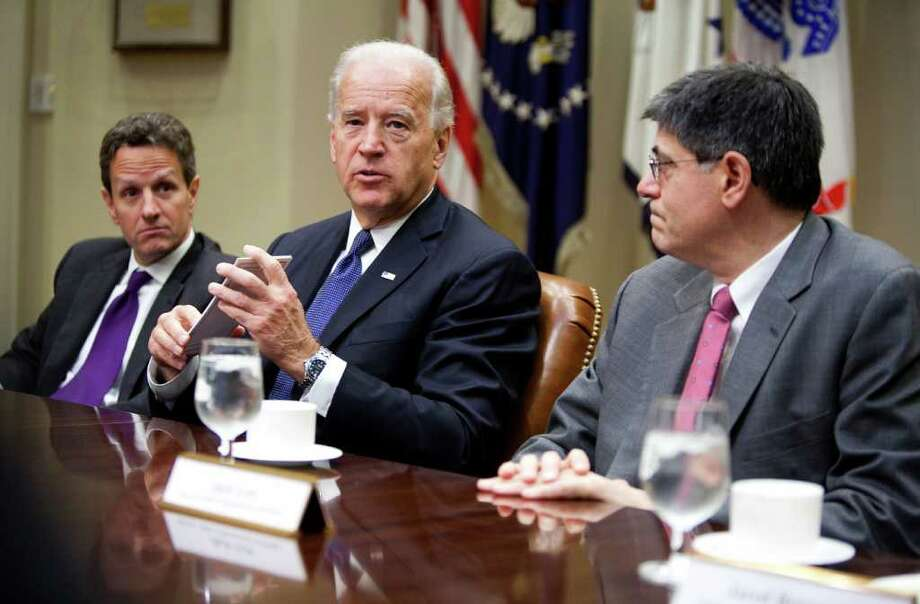 "U.S. Vice President Joseph ""Joe"" Biden, center, Timothy F. Geithner, U.S. treasury secretary, left, and Jack Lew, director of the Office of Management and Budget, make a statement to the media at the White House in Washington, D.C., U.S., on Friday, Dec. 3, 2010. Biden said the latest figures on job growth in the U.S. economy are disappointing and underscore the need to renew extended unemployment compensation for millions of Americans. Photographer: Joshua Roberts/Bloomberg *** Local Caption *** Joseph Biden; Timothy Geithner; Jack Lew Photo: Joshua Roberts, Bloomberg / © 2010 Bloomberg Finance LP"
