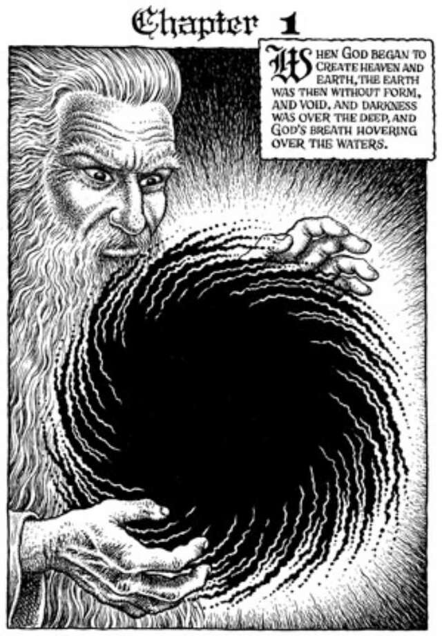 """The Book of Genesis Illustrated by R. Crumb"" was published last month, and today the black-and-white drawings that cover its 201 pages will go on display at Los Angeles' Hammer Museum, which provided this image."