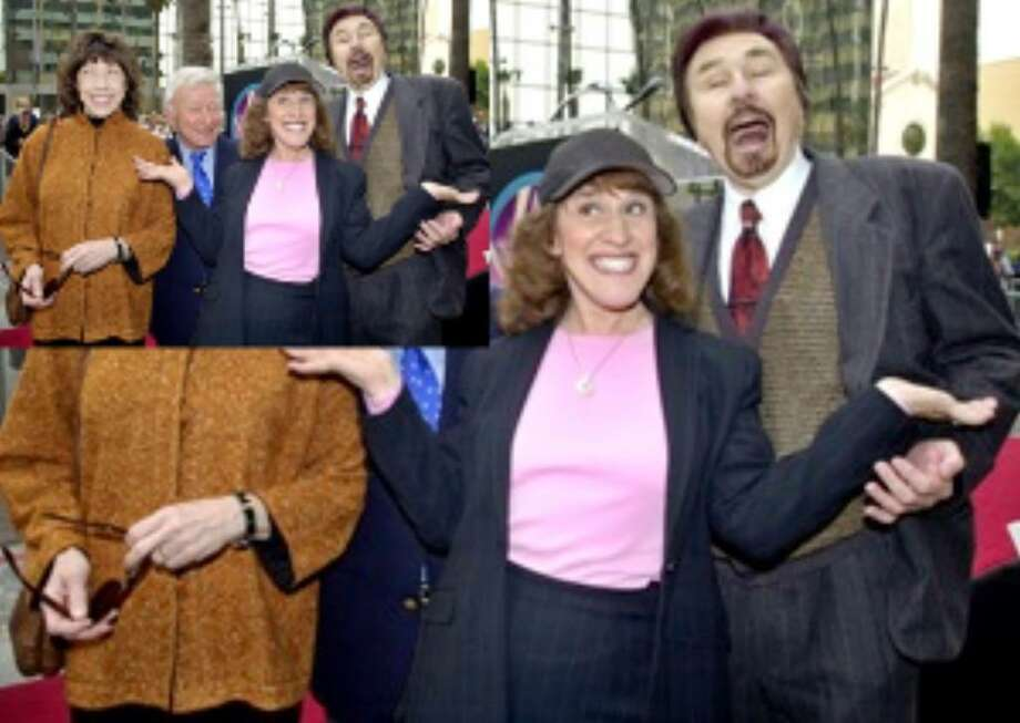 'Rowan & Martin's Laugh-In' cast members (from left) Lily Tomlin, Henry Gibson, Ruth Buzzi and Gary Owens clown for photographers during a ceremony honoring comedian Dick Martin and his late comic partner, Dan Rowan, with a star on the Hollywood Walk of Fame in 2002.