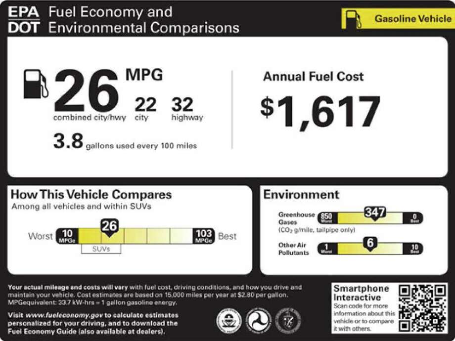 The proposed window stickers for new cars and trucks, beginning with the 2012 model year. Car stickers will provide shoppers with more details on a vehicle's fuel efficiency, emissions, energy costs and energy consumption under new government requirements announced for the 2012 model year.