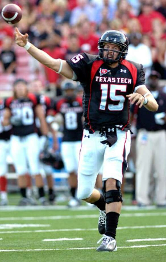 Texas Tech's Taylor Potts throws against North Dakota recently in Lubbock. Potts' leadership skills were evident long before he took over Texas Tech's aerial offense this season, as he bided his time behind Graham Harrell.