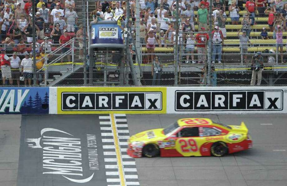 Kevin Harvick wins the Carfax 400 on Sunday at Michigan International Speedway. It was his third victory of the season and first at a non-restrictor plate track.