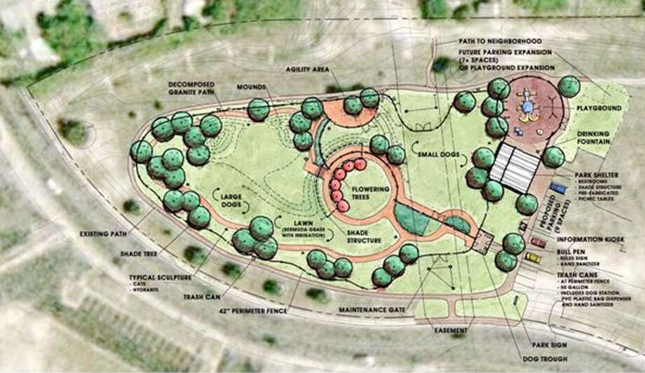 An artist's rendering of what the Universal City dog park on Athenian Drive, adjacent to the city animal shelter, may one day look like.