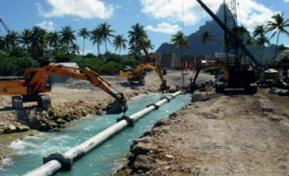 A deep seawater pipeline is shown during the installation process in Bora Bora Island, French Polynesia, in March 2006.