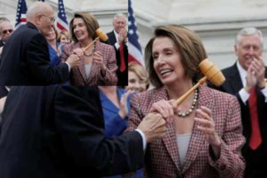 House Speaker Nancy Pelosi (D-Calif.) and Rep. John Dingell (D-Mich.) hold the gavel used by Dingell as speaker pro tempore when Medicare passed in 1965 during the announcement of a retooled health care overhaul bill on Capitol Hill in Washington. At right is House Majority Leader Steny Hoyer of Maryland.
