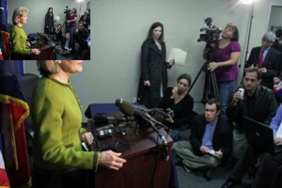 Sen. Kay Bailey Hutchison addresses the media after filing for election in the 2010 Texas Gubernatorial Race in Austin.