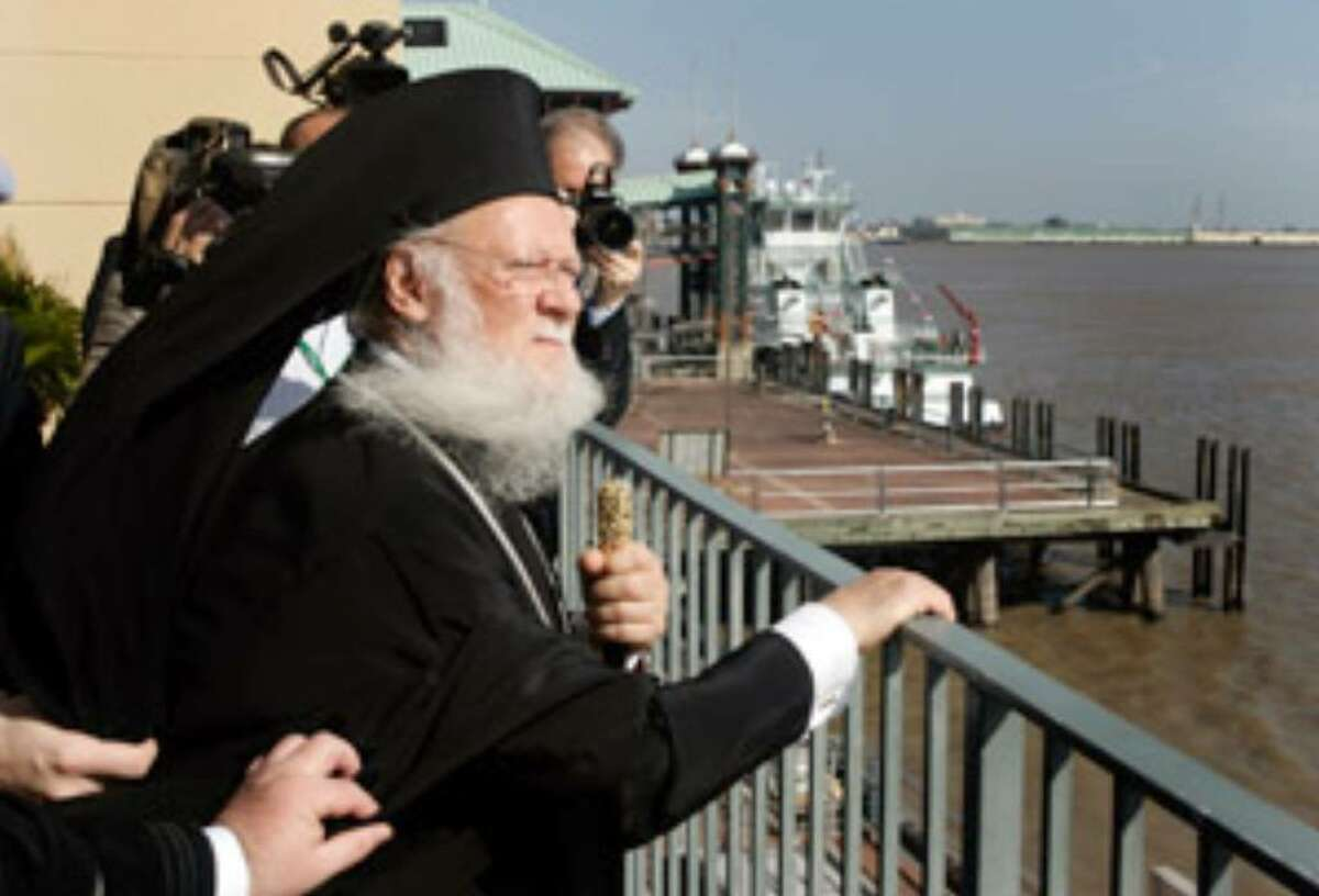Ecumenical Patriarch Bartholomew I, leader of the Christian Orthodox Church, looks over the Mississippi River after speaking at a symposium addressing environmental challenges facing the river and the Louisiana coast in New Orleans.