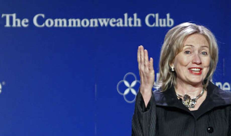 Secretary of State Hillary Rodham Clinton speaks before the Commonwealth Club on Oct. 15, in San Francisco. Senators from both parties urged Clinton on Thursday to clarify remarks she made during the speech, that signaled likely U.S. support for a $7 billion pipeline to carry Canadian oil to refineries along the U.S. Gulf Coast.