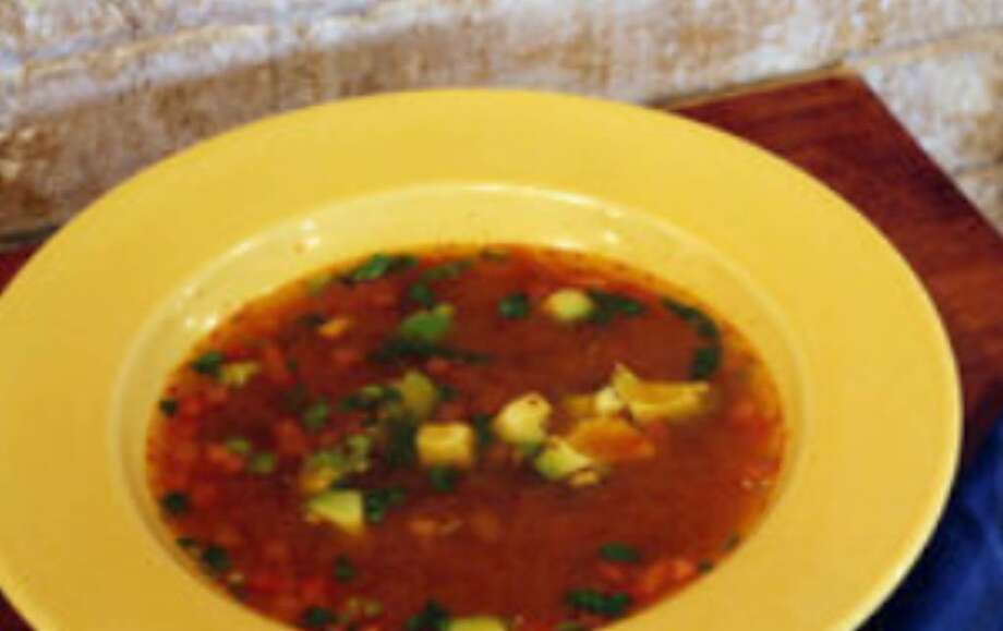 Caldo tlalpeño such as this served at Aldaco's Mexican Restaurant, includes hearty amounts of chicken and vegetables with a hint of chile.