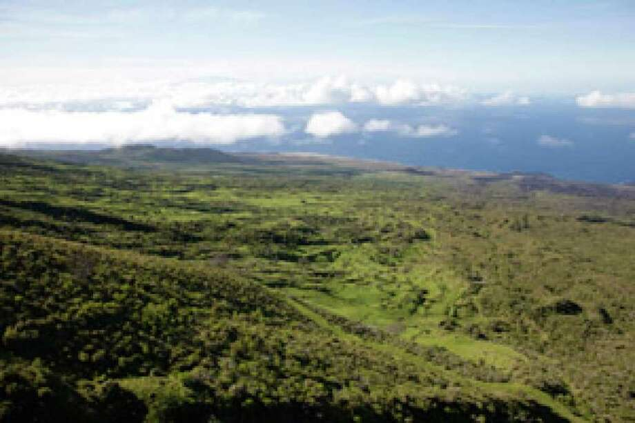 An aerial view of a section of Ulupalakua Ranch in Maui, Hawaii.  A ranch owner concerned about construction in parts of upcountry Maui signed over 12,000 acres of his property to a Hawaii land trust Saturday, creating the state's largest conservation easement.