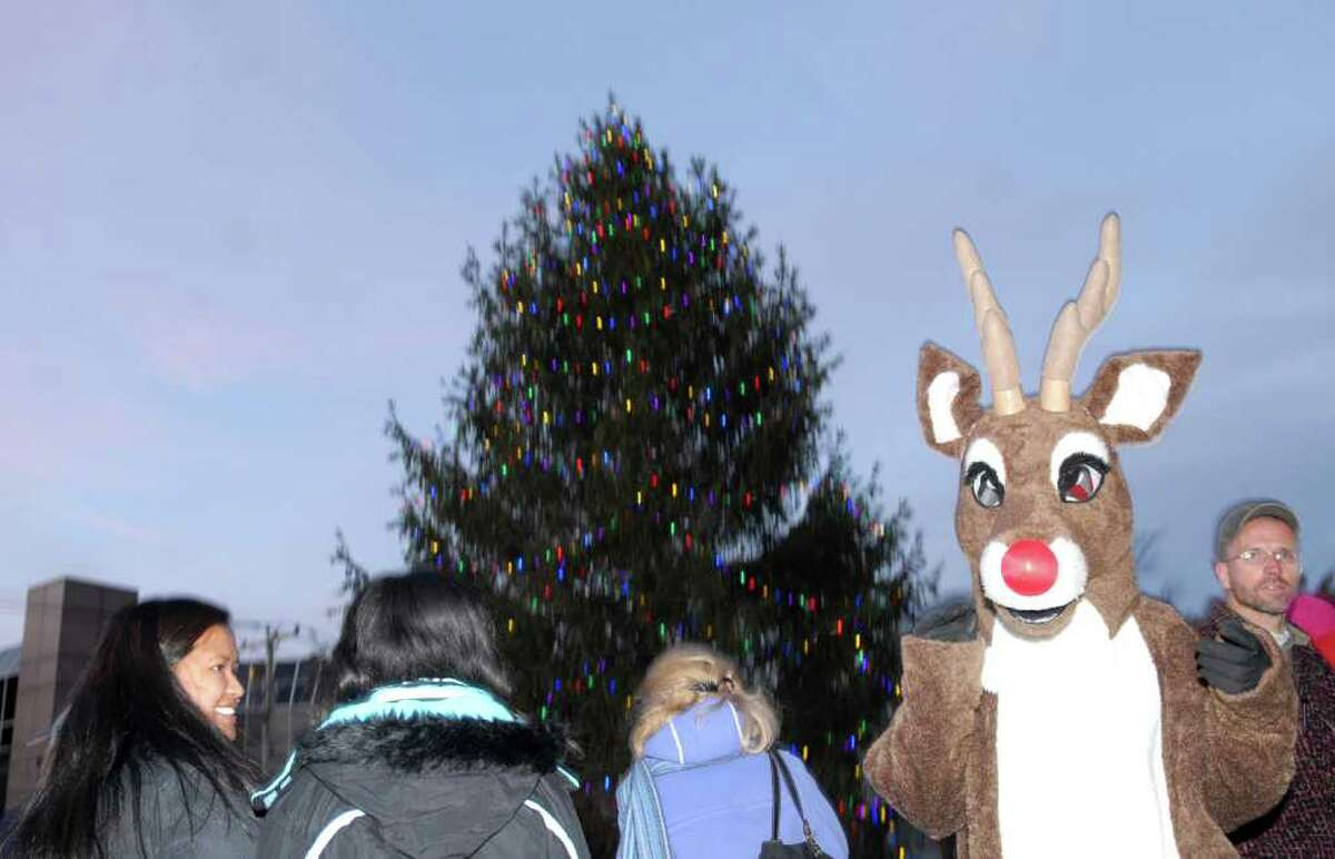 Rudolph brought out the smiles while making an appearance during the annual tree-lighting ceremony at Greenwich Town Hall, Friday afternoon, Dec. 3, 2010.