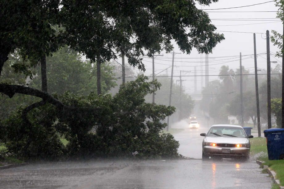 A motorist drives around a tree branch brought down by Tropical Storm Hermine in San Antonio on Sept. 7. Hermine, which caused flooding and wind damage across a wide swath of Texas, came ashore in Mexico 40 miles south of Brownsville. Photo: Jerry Lara/glara@express-news.net /  2010 San Antonio Express-News