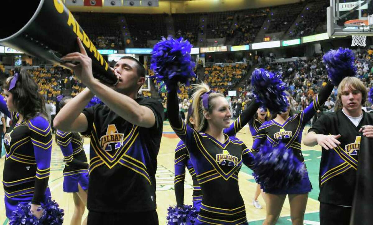 UAlbany's cheerleaders during Saturday night's game with Siena. (John Carl D'Annibale / Times Union)