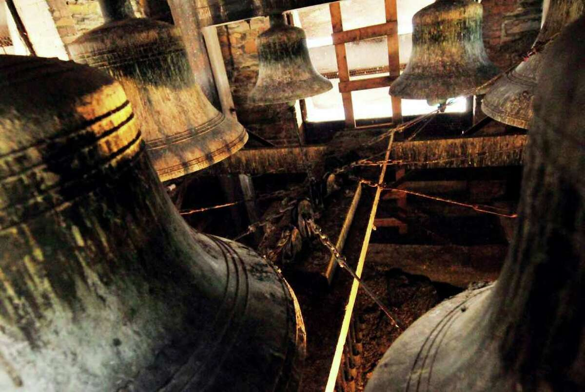 The newly cleaned and restored Meneely bells in the tower of St. Joseph's Church in Albany 12/02/2010. ( Michael P. Farrell/Times Union )