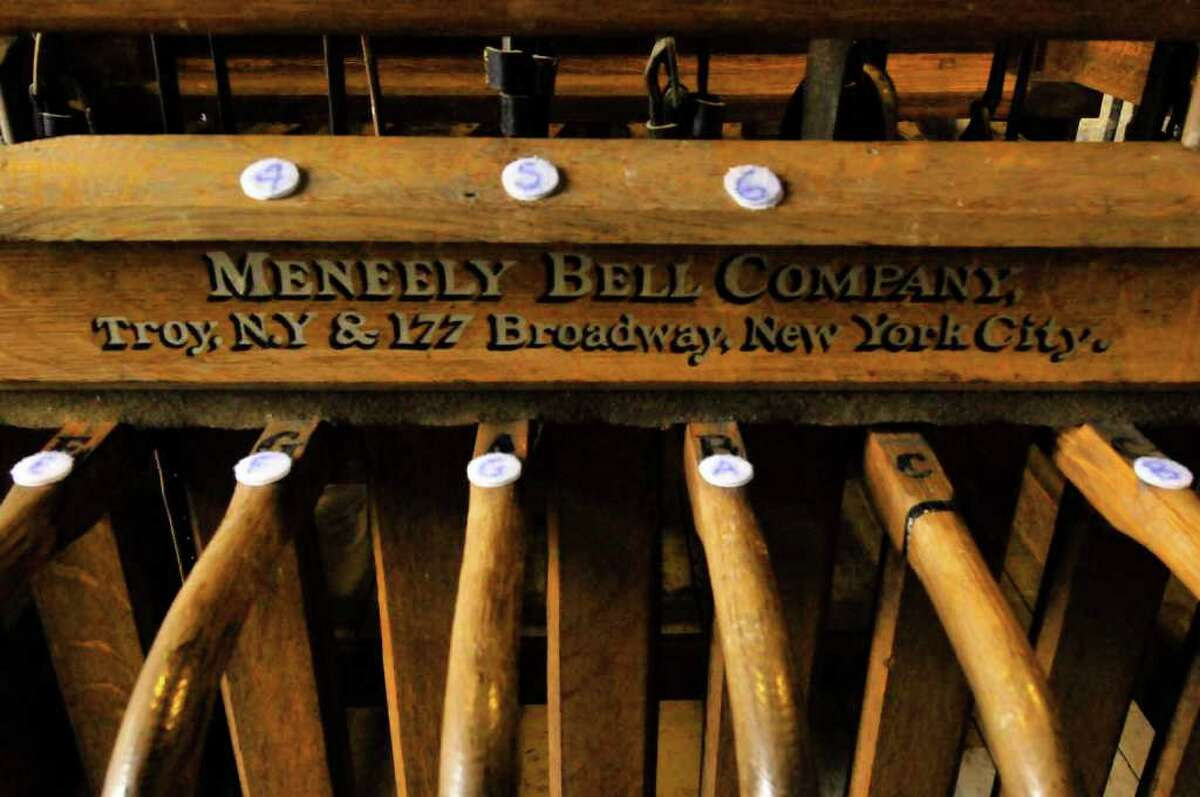 The control for the Meneely bells in the tower of St. Joseph's Church in Albany 12/02/2010. ( Michael P. Farrell/Times Union )