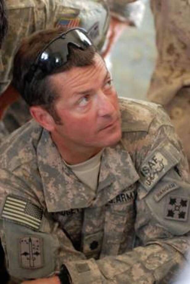 Lt. Col. Clay Padgett and other members of Task Force 1-22, 1st Brigade Combat Team, 4th Infantry Division in Afghanistan, will take part in a live telephone link Saturday between Kandahar Province, Afghanistan, and Weston. Photo: Contributed Photo / Westport News contributed