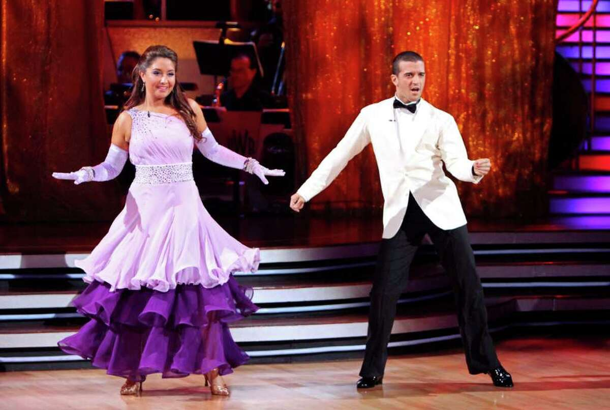 """In this publicity image released by ABC, Bristol Palin, left, and her partner Mark Ballas perform on the celebrity dance competition series """"Dancing with the Stars,"""" Monday, Sept. 27, 2010 in Los Angeles. (AP Photo/ABC, Adam Larkey)"""