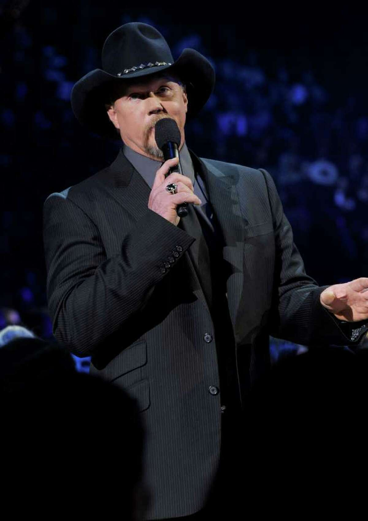 LAS VEGAS, NV - DECEMBER 06: Host Trace Adkins speaks onstage during the American Country Awards 2010 held at the MGM Grand Garden Arena on December 6, 2010 in Las Vegas, Nevada. (Photo by Kevin Winter/Getty Images)