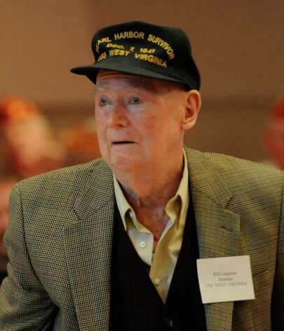 Bill Langston, retired fireman, USS West Virgina, stands to be recognized at the Pearl Harbor Day Memorial Observance at the J. E. Zaloga Post of the American Legion on Dec. 7, the 69th anniversary of the attack.    (Skip Dickstein / Times Union) Photo: SKIP DICKSTEIN / 2008