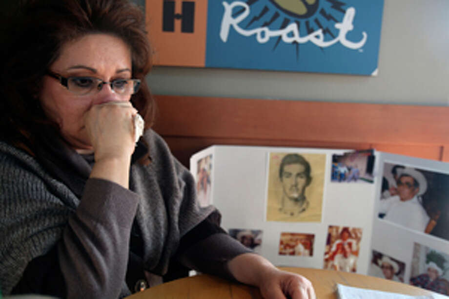 Mary Koenig wipes away tears as she remembers her father, retired construction worker Emilio Gonzalez, who died at age 76 in 2007 after suffering severe bedsores. He had been staying at Retama Manor Nursing Center in San Antonio.