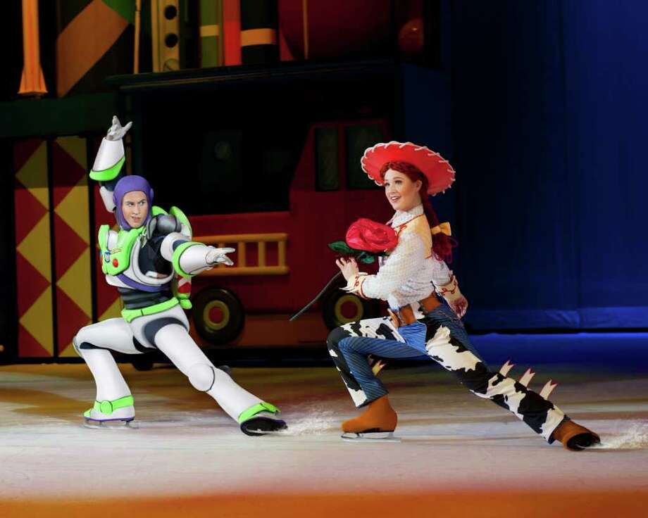 "Buzz Lightyear and Jessie in ""Toy Story 3 On Ice."" (Feld Entertainment) Photo: Heinz Kluetmeier / ©Feld Entertainment 2010. Please contact Feld Photo for use photorequests@feldinc.com"