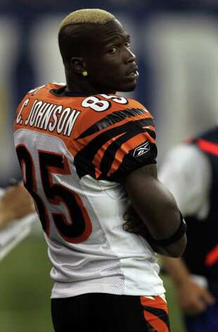 Cincinnati Bengals wide receiver Chad Johnson, with his hair in a mohawk, on the sidelines during the first half as his team played the Indianapolis Colts during a NFL pre-season football game in Indianapolis. Friday, Sept. 1, 2006. (AP Photo/AJ Mast) Photo: AJ MAST, STR / Beaumont