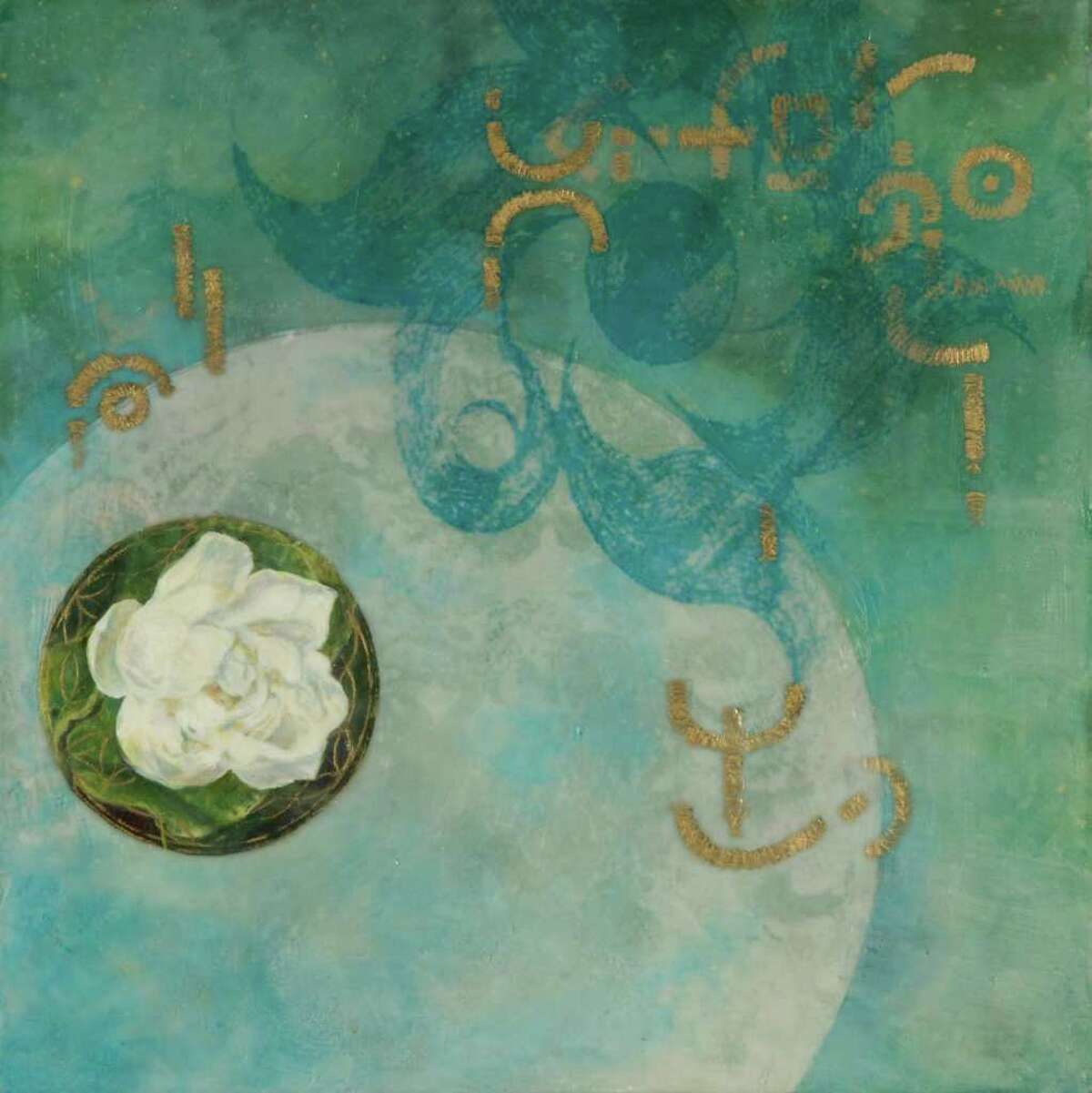 """Martha Robinson's encaustic painting """"Lotus Language I"""" will be included in the upcoming exhibition """"Luminsity@180º"""" at the Flinn Gallery."""
