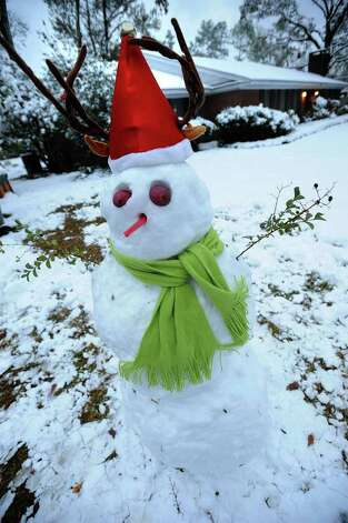 A snowman on Edison Street in Beaumont. Guiseppe Barranco/The Enterprise / Beaumont