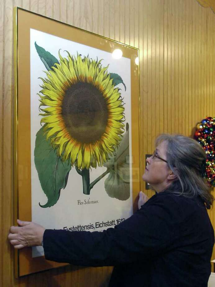 Curator Judy Smith checks the straightness on one of the botanical prints in the silent auction.  The Ice House Museum in Silsbee Texas is preparing for an auction which is their biggest fundraiser of the year.  All the items were donated and did not come out of the collection.  Dave Ryan/The Enterprise Photo: Dave Ryan / Beaumont