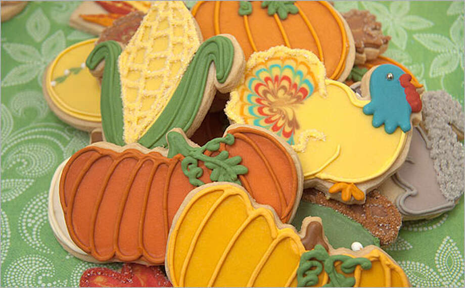 Decorated cookies in Thanksgiving themes are available at Lily's Cookies. The bakery also offers a cookie bar with 12 types of cookies available by the dozen.