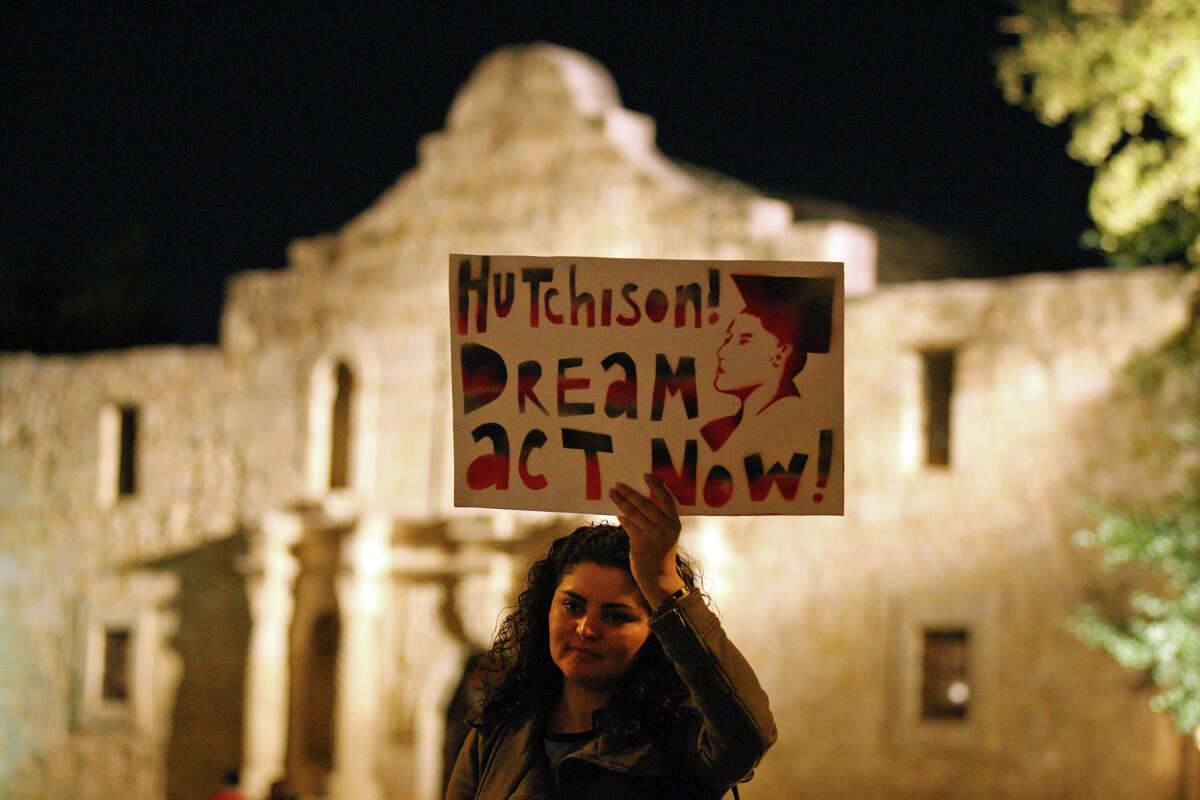 DREAM Act supporter Yadira Meza demonstrates in front of Alamo Plaza in 2010.