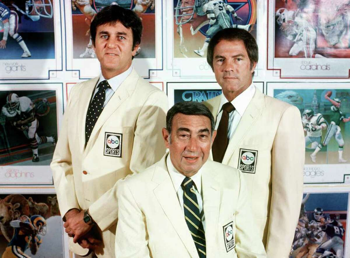 """This Sept. 1980, photo provided by American Broadcasting Companies, Inc. shows ABC Monday Night Football commentators, from left, Don Meredith, Howard Cosell and Frank Gifford. Meredith, one of the most recognizable figures of the early Dallas Cowboys and an original member of ABC's """"Monday Night Football"""" broadcast team, died Sunday, Dec. 5, 2010, in Santa Fe, N.M., He was 72.(AP Photo/ABC, Steve Fenn) ** NO SALES **"""