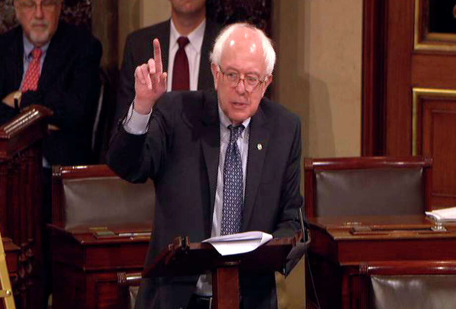 This video frame grab image provided by Senate Television shows Sen. Bernard Sanders, I-Vt., speaking on the floor of the Senate on Capitol Hill in Washington on Friday. Photo: Senate Television/Associated Press