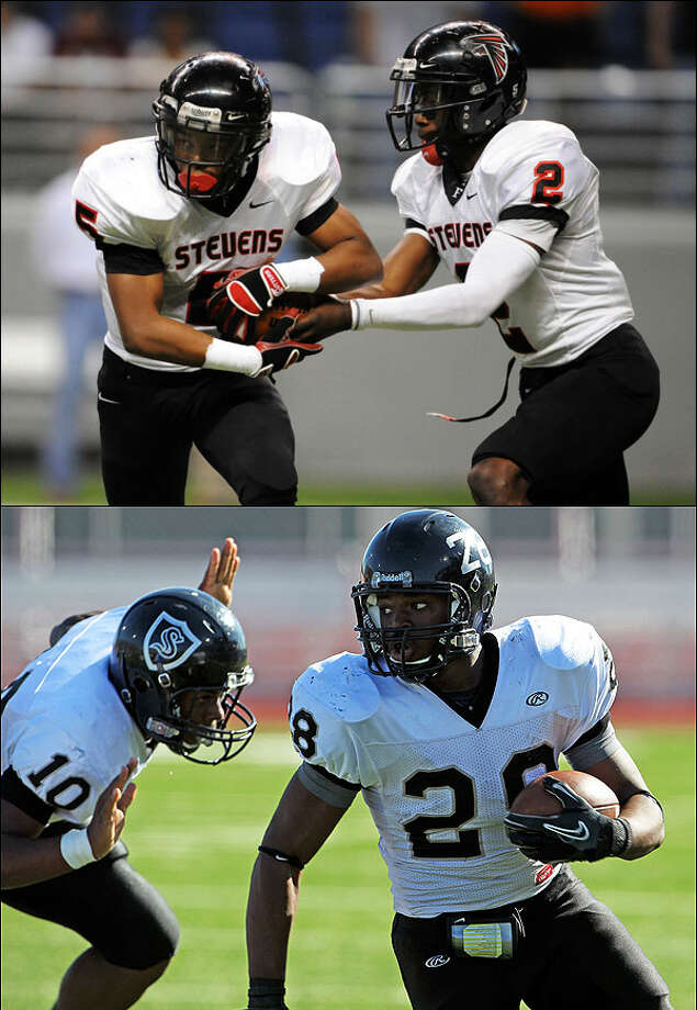Stevens quarterback Mykkele Thompson (top right) and Steele running back Malcolm Brown (bottom right) will both head to the University of Texas next season.