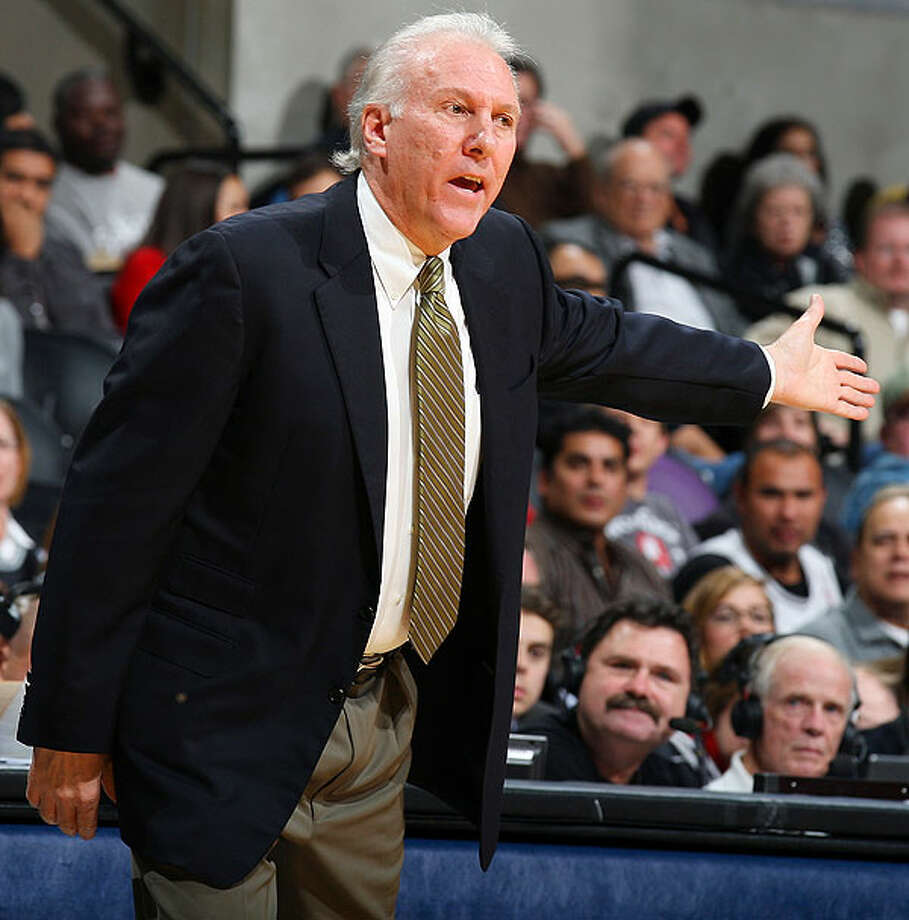 Spurs' coach Gregg Popovich looks for a call during first-half action against the Hawks on Friday, Dec. 10, 2010 at the AT&T Center. (PHOTO BY EDWARD A. ORNELAS/eaornelas@express-news.net)