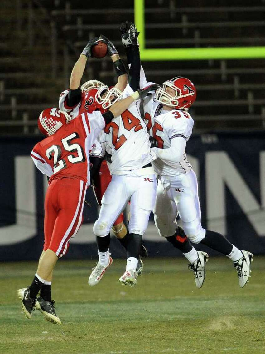 Saturday's Class L football championship game between New Canaan High School and Masuk High School at Rentschler Field in East Hartford on December 11, 2010.