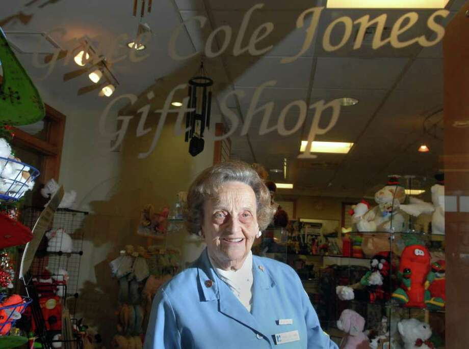 "Grace Cole Jones of Greenwich, posed in the gift shop at Norwalk Hospital which bears her name, Friday, Dec. 10, 2010.  Jones has the title of ""Chair"" of the shop and has been working there 52 years, she said. Photo: Bob Luckey / Greenwich Time"