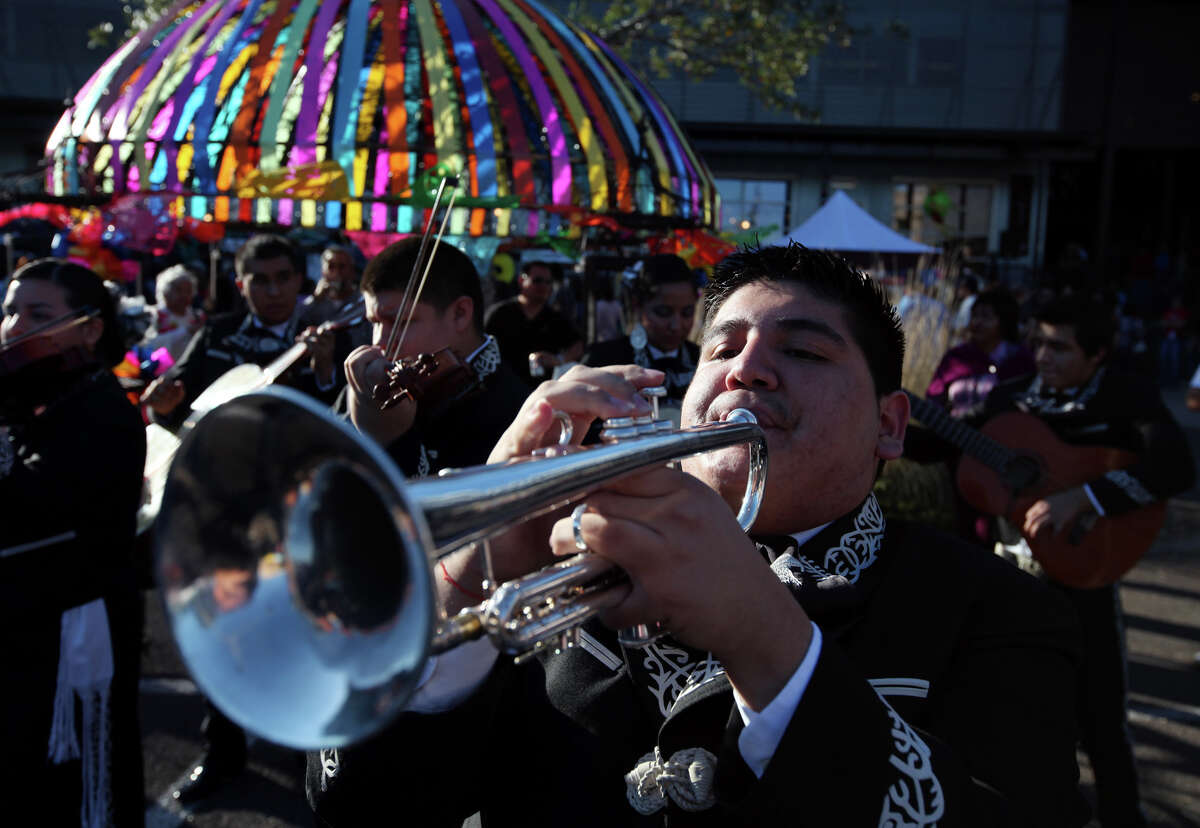 Sergio Martinez of Mariachi Aguila, from Brackenridge High School, performs with the group during the