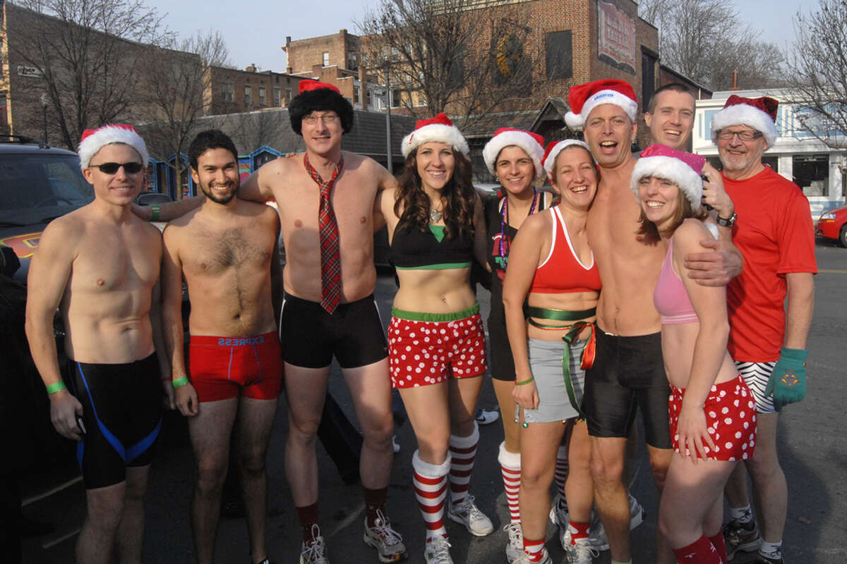 Braving the cold, Santas and Santas' helpers lined up to run in the fifth annual Santa Speedo Sprint on Saturday, Dec. 11, in Albany, N.Y. Click through a gallery to see who took part in the fun run.